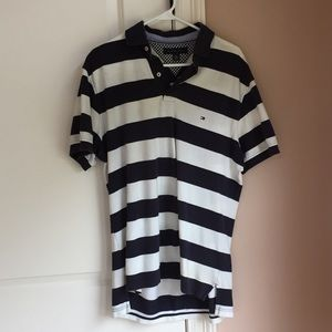 Blue and white striped Tommy Hilfiger polo. Size M